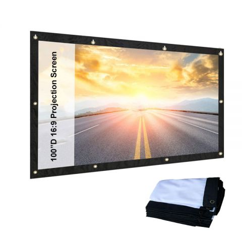 """84"""" / 100"""" 16:9 Portable Projector Screen Wall Mounted Screen for Projector Home Cinema indoor / Outdoor"""